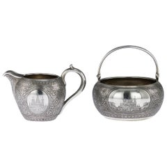 19th Century Russian Silver & Niello Sugar Bowl & Cream Jug, Moscow, circa 1892