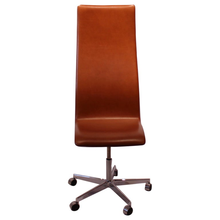 Oxford Clic Office Chair With Tall Back In Patinated Elegance Leather