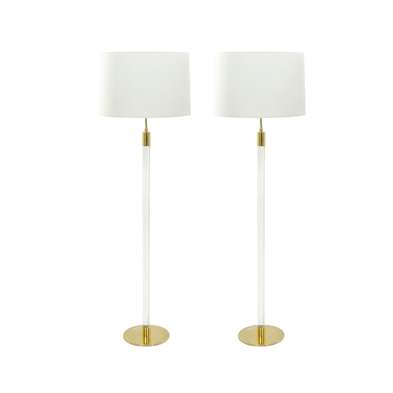 Pair of Glass Rod Floor Lamps by Hansen Lighting Co. New York, 1970s