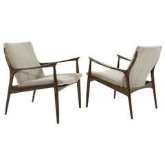 Scandinavian Modern Lounge Chairs by Ib Kofod-Larsen in Mohair