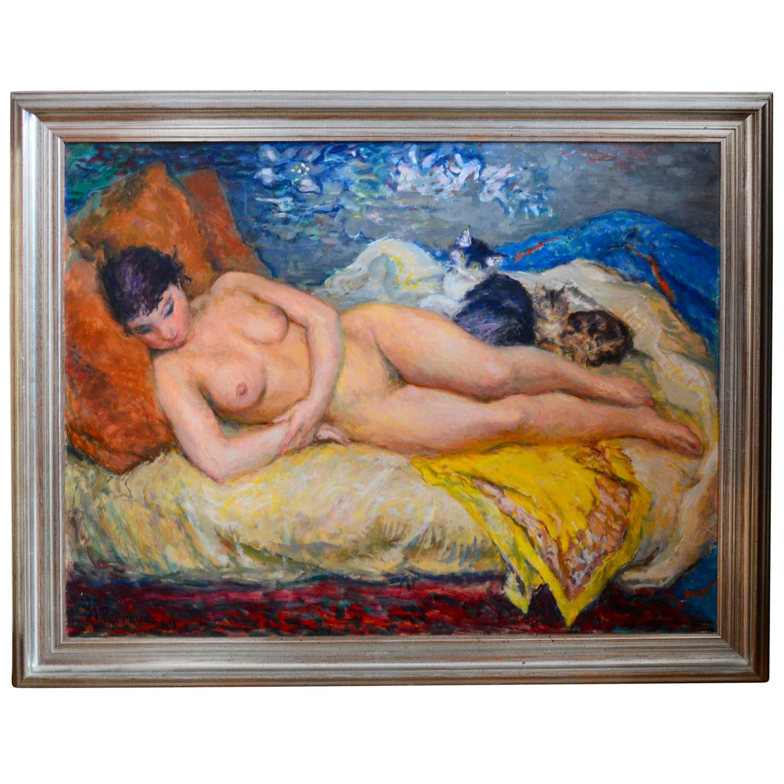 Jan Andre Perroud Nude Painting with Reverse Oil-Painting Of A Sailboat Scene