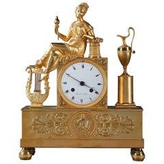 Empire Pendulum Clock The Spinner, Signed Rossel in Rouen
