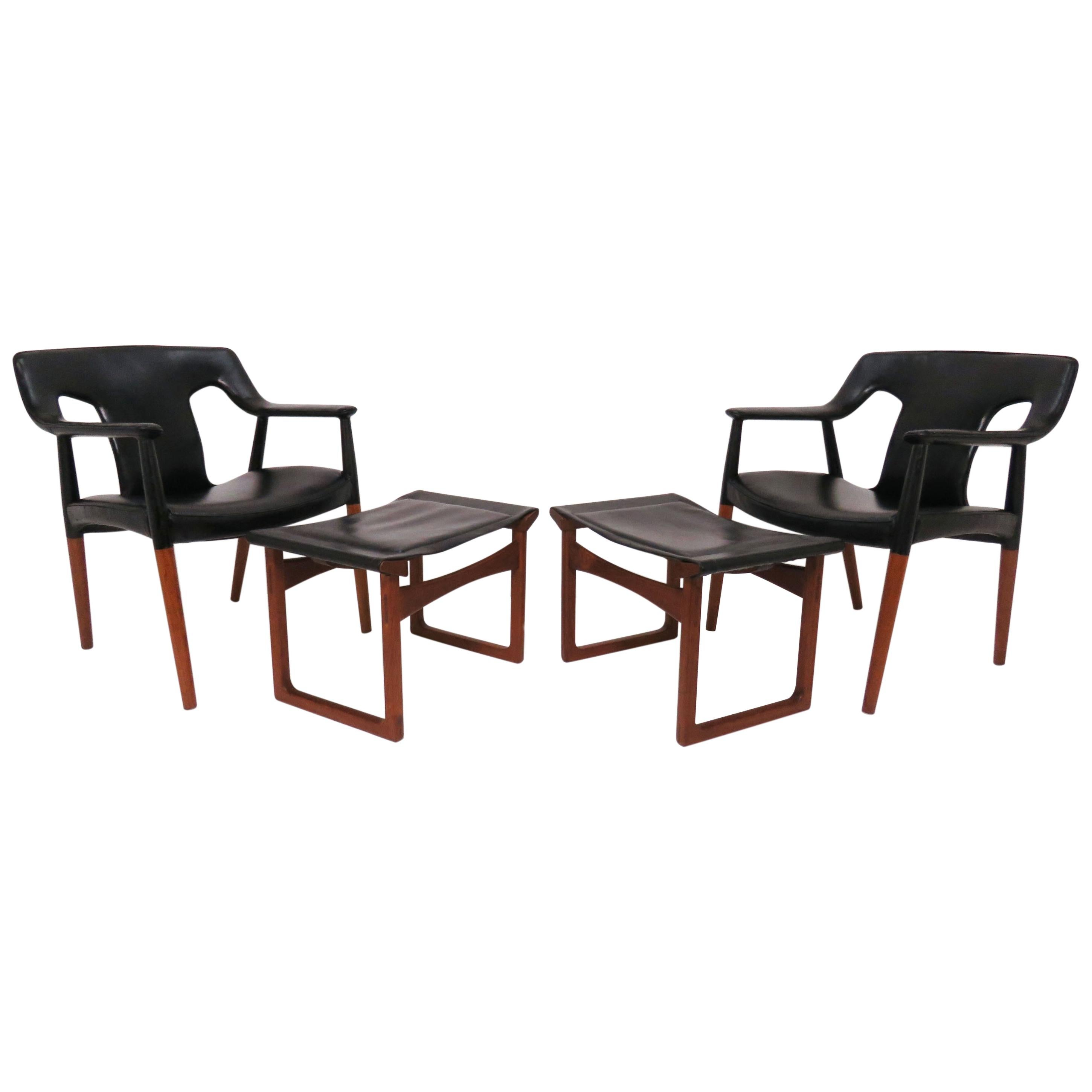 Ejner Larsen and A. Bender Madsen Danish Teak Lounge Chair and Ottoman Set
