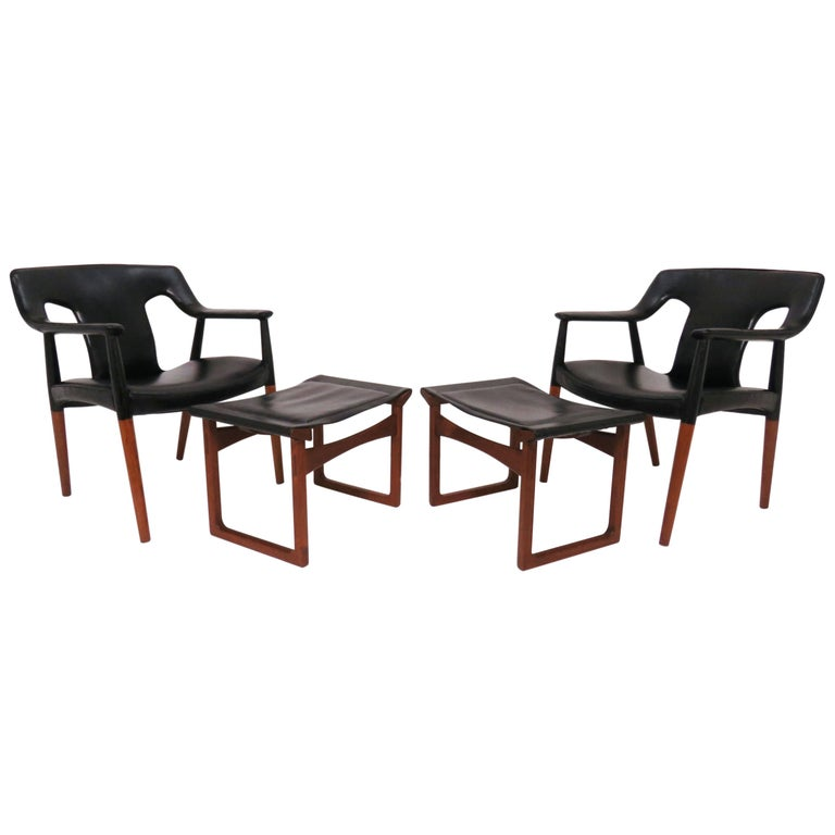 Ejner Larsen and A. Bender Madsen Danish Teak Lounge Chair and Ottoman Set For Sale