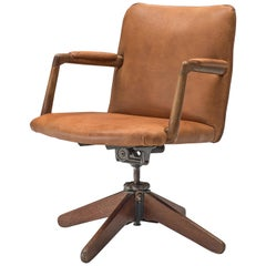 Rare Hans J. Wegner 'A721' Swivel Desk Chair in Cognac Leather, 1940s