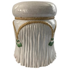 Charming Rope and Tassel Ceramic Garden Seat Side Table