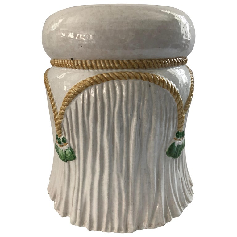 Charming Rope And Tel Ceramic Garden Seat Side Table For