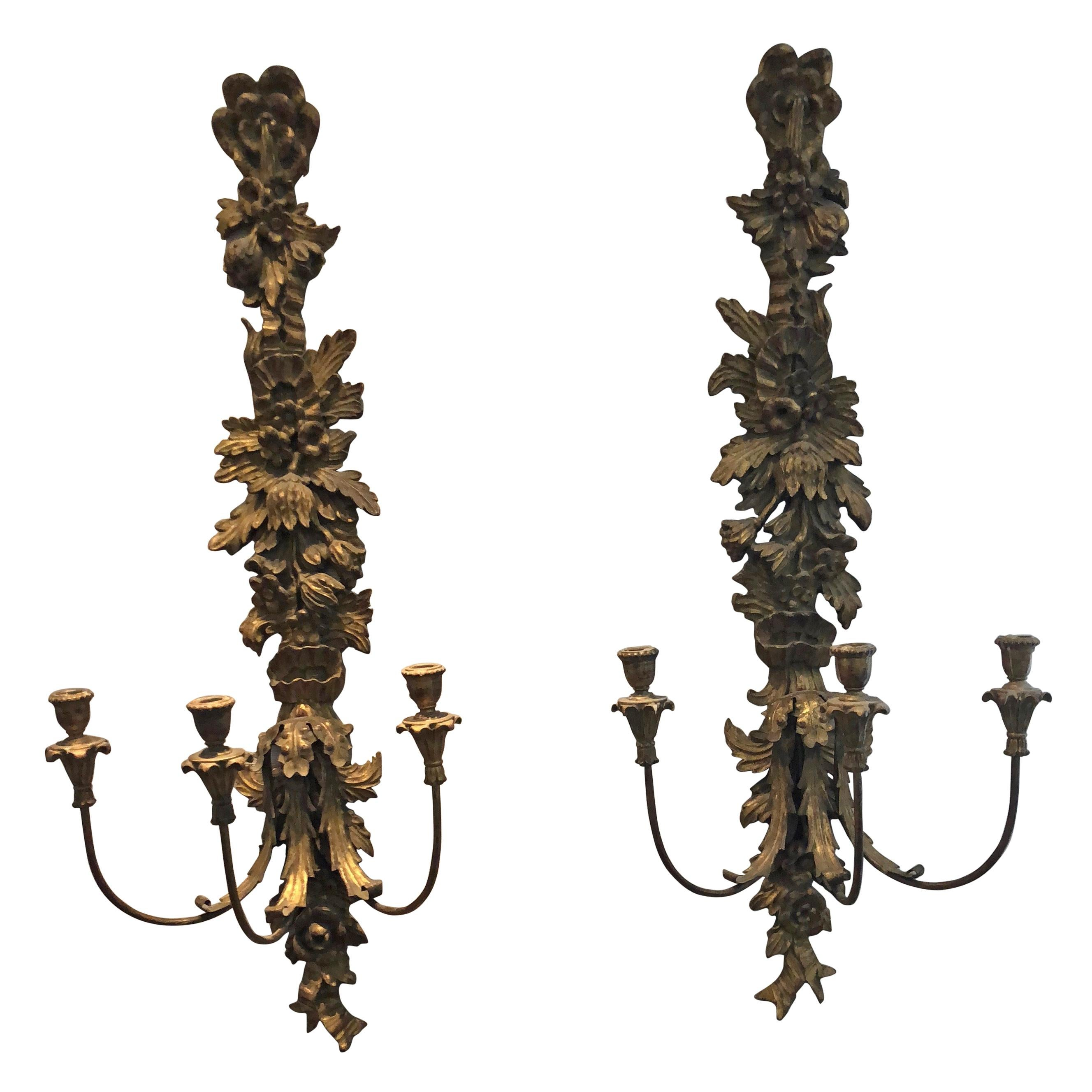 Spectacular Antique Pair of Carved Giltwood Italian Sconces