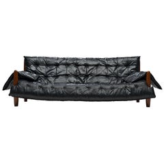 Sergio Rodrigues 'Sheriff' Sofa in Black Leatherette