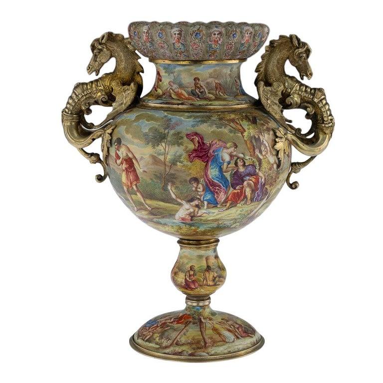 19th Century Austrian Solid Silver-Gilt & Enamel Vase, Hermann Bohm, circa 1880 For Sale