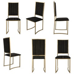 Set of Six Vintage Brass and Velvet Dining Chairs
