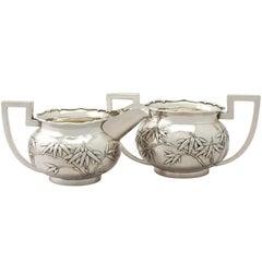 Antique Chinese Export Silver Cream Jug / Creamer and Sugar Bowl