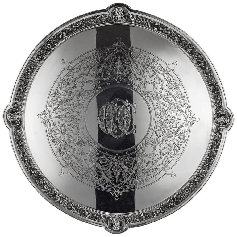 19th Century Victorian Solid Silver Salver, Hunt & Roskell, London, circa 1873 For Sale