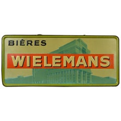 1930s Tin Advertising Sign for Belgium Beer Wielemans