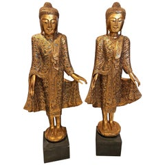 Pair of Gold Leafed Standing Thai Buddhas Statues