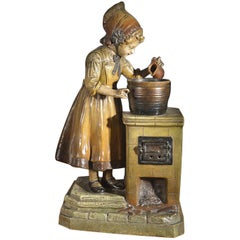 Painted Metal Lamp in the Form of a Young Girl at a Stove