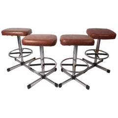 Set of 4 Midcentury Swivel Stools by Samsonite