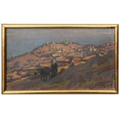 """View of Corbara"" Corsican Landscape Painting by Marcel Poggioli"