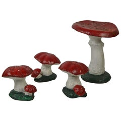 Vintage Concrete Bunch of Mushrooms, Garden Elements, 1950s