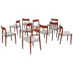 Set of Ten Teak Dining Chairs, Mod 77, Designed by Niels O. Møller