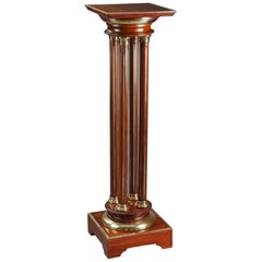 Late 19th Century Mahogany Pedestal Stand with Gilt Brass Decoration