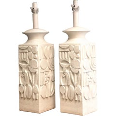 Pair of Monumental White Plaster Table Lamps, 1960s