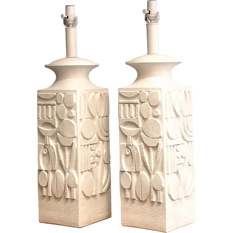 Pair of Monumental White Plaster Table Lamps, 1960s For Sale