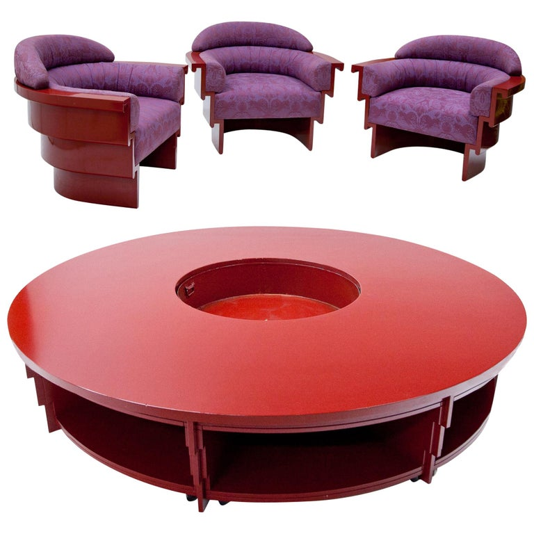 Circle Coffee Table With Seats.Studio A Lounge Chairs And Coffee Table Italy 20th Century