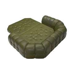 Extravagant Tufted Sofa Bed in Navy Green Leather, Italy 1970s