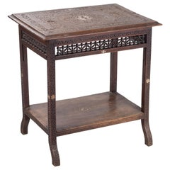 19th Century Oriental Style Hand Carved Table with Mother of Pearl Inlay