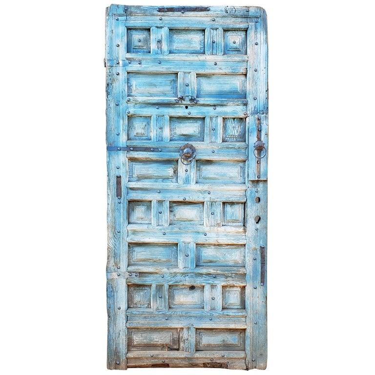 Funky Blue Moroccan Wooden Door, 23MD59 For Sale