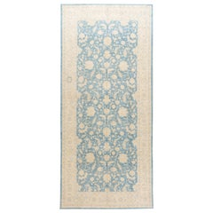 Contemporary Oversize Ivory and Pale Blue Tabriz-Style Wool Gallery Rug