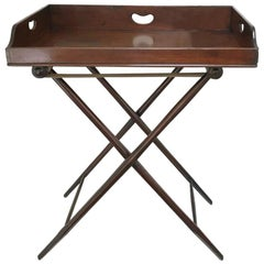 19th Century Georgian Mahogany Butlers Tray with Turned Bamboo Effect Stand