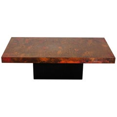 Etched and Fire Oxidized Copper Coffee Table by Bernhard Rohne, 1960s