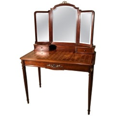 Late 19th Century French Mahogany and Geometric Marquetry Dressing Table