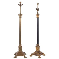 1950s Pair of French Brass Standing Lamps with Claw Feet and Corinthian Capitals