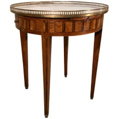 Antique French Kingwood and Marble Bouillotte Table with Brass Gallery Top