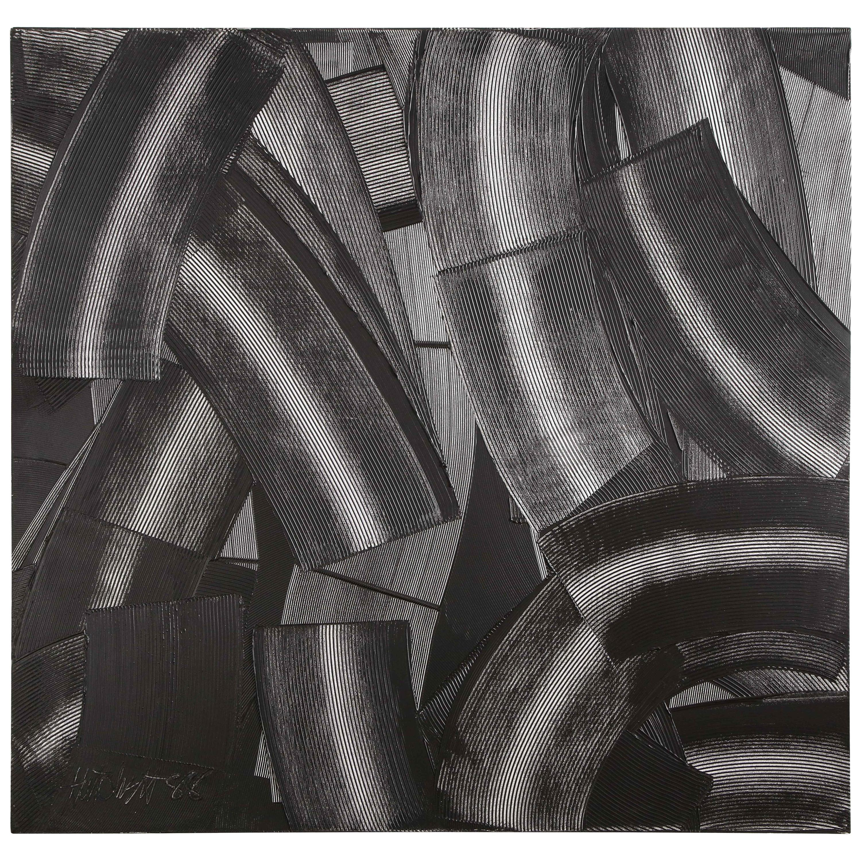 """Abstract Black & White """"Trowel"""" Painting by Duayne Hatchett, USA 1990s"""