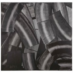 """Abstract Black and White """"Trowel"""" Painting by Duayne Hatchett, USA 1990s"""