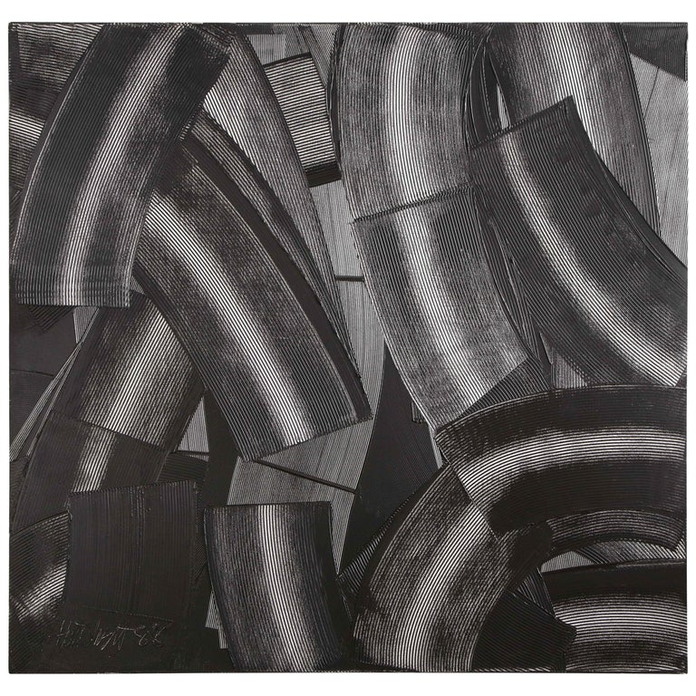 """Abstract Black & White """"Trowel"""" Painting by Duayne Hatchett, USA 1990s For Sale"""