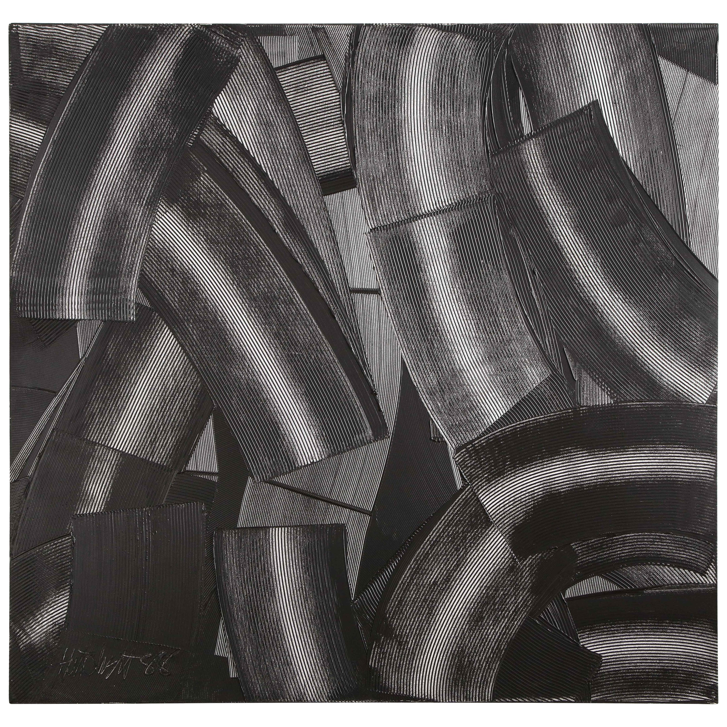 "Abstract Black & White ""Trowel"" Painting by Duayne Hatchett, USA 1990s"