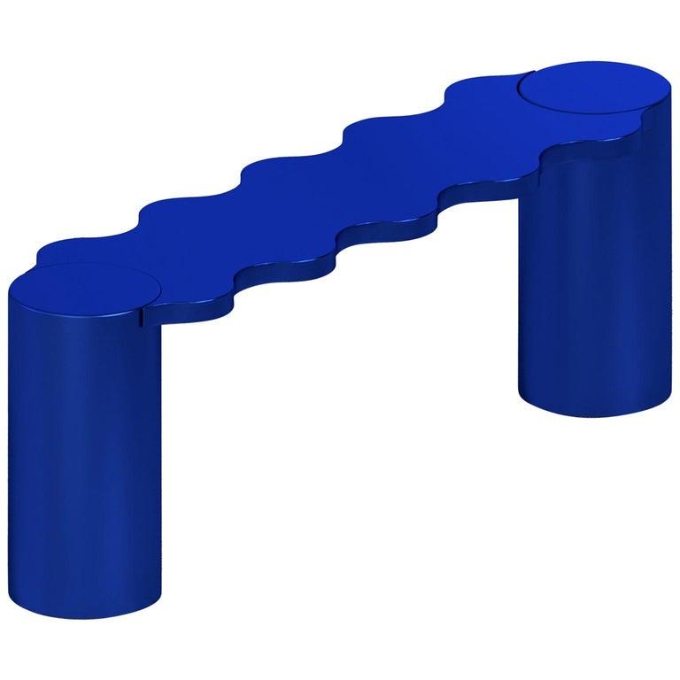 Contemporary Bench Blue Aluminium Hella by Chapel Petrassi For Sale
