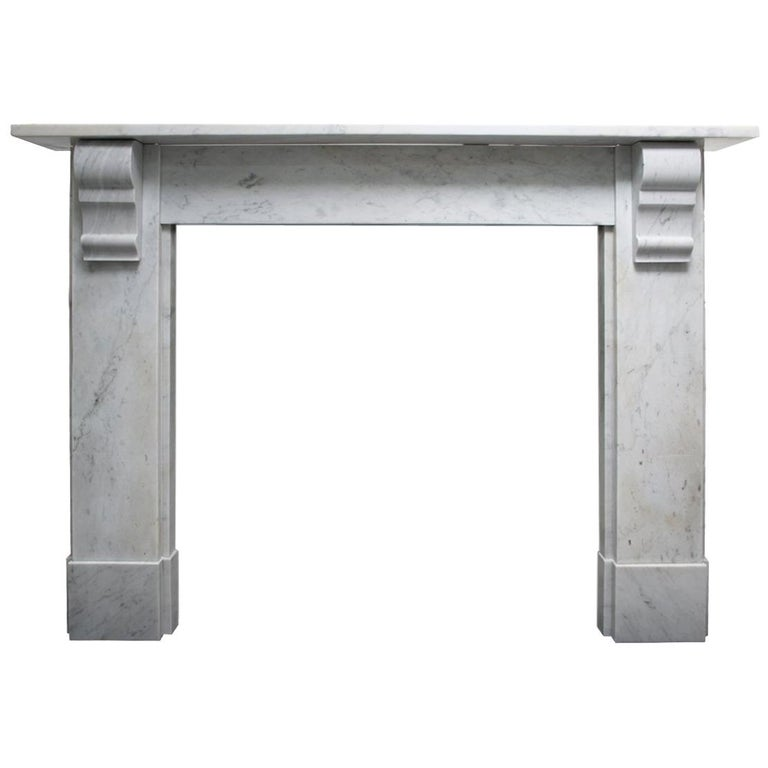 Simple Reclaimed Victorian Carrara Marble Fireplace Surround For Sale