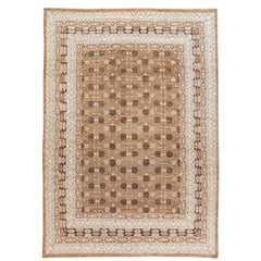 Contemporary Oversize Brown, Pale Blue and Ivory Khotan-Style Wool Area Rug