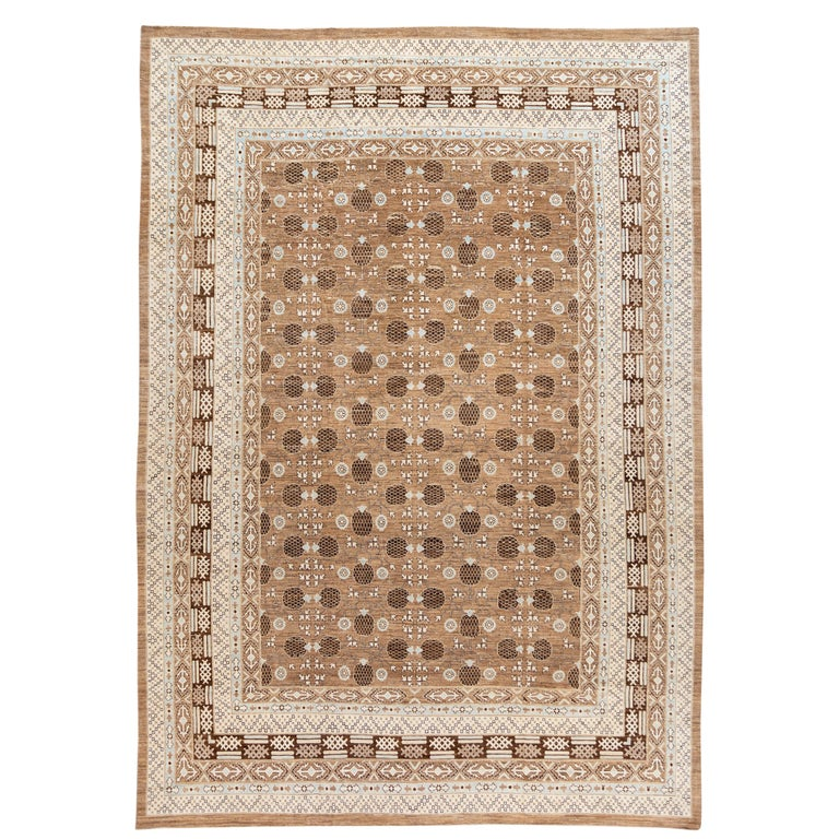 Contemporary Oversize Brown Pale Blue And Ivory Khotan Style Wool Area Rug