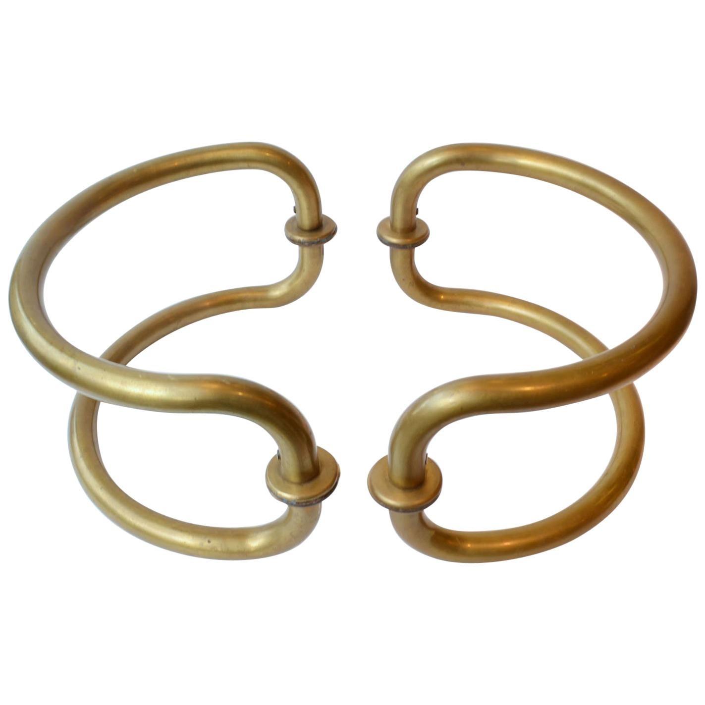 Large Pair of Curved Tubular Brass Double Door Push & Pull Door Handles