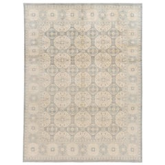 Contemporary Grey and Ivory Khotan-Style Wool Area Rug