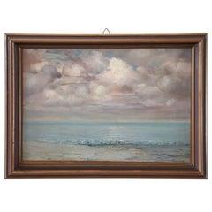 20th Century Important Italian Artist Oil Painting on Cardboard Seascape