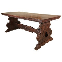 Large 19th Century Italian Walnut Table with Carved Trestle Base and 3 Plank Top
