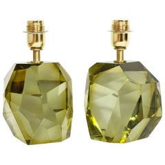 Pair of Solid Citrine Jewel Murano Glass Lamps, Italy
